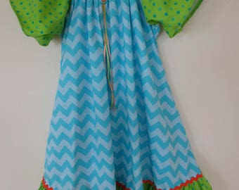 SZ  2 /Girls Nightgown/Dress/Cotton/Chevron Blue/Colorful