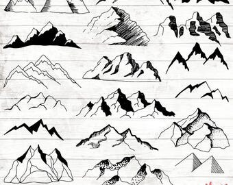 Boho Mountain Clipart - Hand Drawn Boho Clipart - Vector Tribal Art - Digital Paper - Mountain Clip Art - Mountain Wall Art - ACGABW17