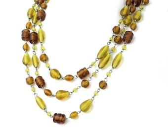 """Brown and Gold Venetian Murano Glass Long Necklace 60"""""""