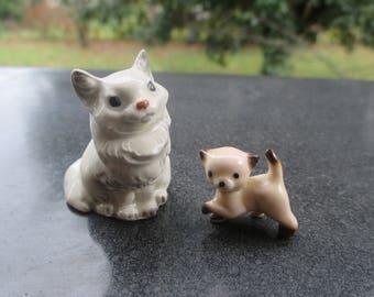 Hagen Renaker ceramic Persian Cat and Kitten / Vintage Miniature Figurines