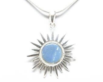 Sterling Silver Leland Blue Sun Pendant - 10mm Stone