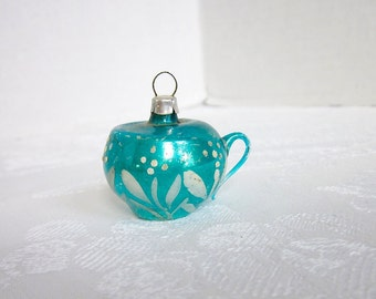 Vintage Christmas Ornament Aqua Blue Glass Teacup Coffeecup Handblown