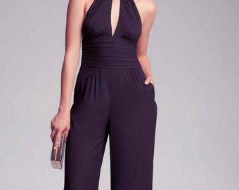 Black Scarf Tie Neck Wide Leg Jumpsuit With Key Hole And Pockets