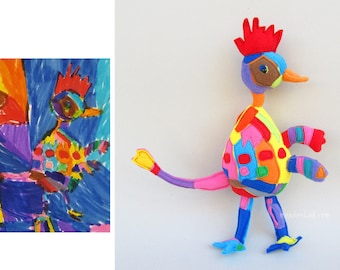 Turn a drawing into a stuffed animal bird - Art made by kids  - MADE TO ORDER