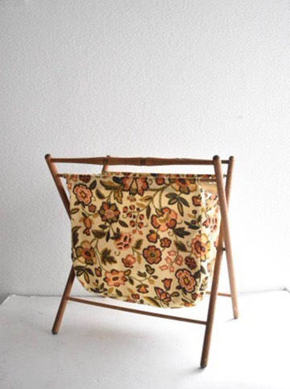 large vintage flower floral yellow folding fabric sewing basket / collapsible tote / wood handle