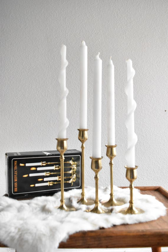 mid century modern brass tulip candle holders / set of 5 candlestick holders