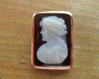 Antique 14K Rose Gold Black White Carved Cameo Brooch Pendant Combination Left Facing Female Art Deco Edwardian Victorian