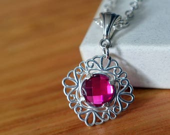 Ruby Bridal Pendant, Lacy Sterling Silver Filigree Wedding Necklace, July Birthstone, Bridesmaid Jewelry, Dainty Gemstone Gift for Her