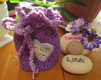 Purple Crochet Trinket Bag