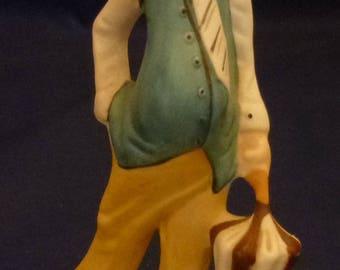 Vintage Davar Hand Painted Porcelain Clown Holding Umbrella Figurine, 1980s