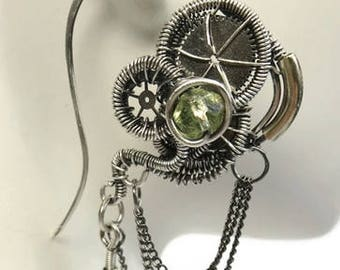 Uranium Glass Wire-Wrapped Steampunk Earrings in Antiqued Sterling Silver