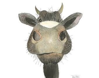 Cow nose art print, farm animal face mugshot picture, nosey moo, watercolor painting, sketchbook art, barnyard illustration, bovine, smile