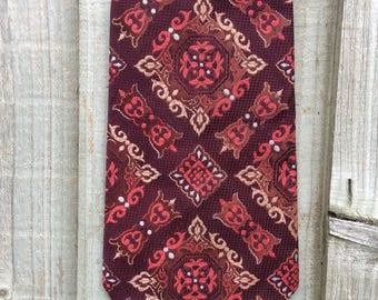 70s Burgundy Tie - John Collier Tie - Geometric Print Tie - Retro Tie - Wide Vintage Tie - 1970s Retro Tie - Vintage Necktie