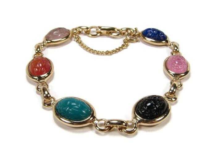 Vintage Molded Glass Scarab Bracelet