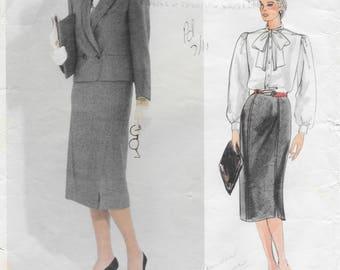 Vogue Paris Original Guy Laroche 1498 Misses' 80s Petite Jacket, Skirt and Blouse Sewing Pattern Size 14 Bust 36