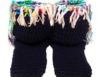 "Slipper Socks, 7"" Tall, Bohemian Clothing, Boot Socks, Women's Slippers, Winter Socks, Hippie Clothes, Festival Clothes"