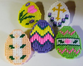 Set of 5 Plastic Canvas Easter Egg Hair Bows   #684
