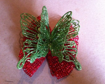 Green & Red Glitter Butterfly Hair Bow #134