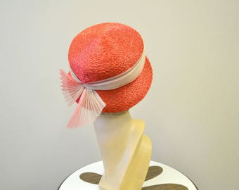 1950s Kutz Red Straw Hat