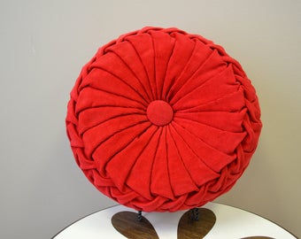 1960s Red Corduroy Round Throw Pillow