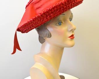 1960s Montaldo's Red Straw Hat