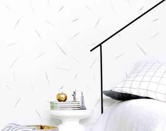 Strokes Wallpaper, Soft Gray Wallpaper, Kids Wallpaper, Monochrome, Wall sticker, Self-Adhesive Wallpaper, Kids Décor. Strokes Wallpaper