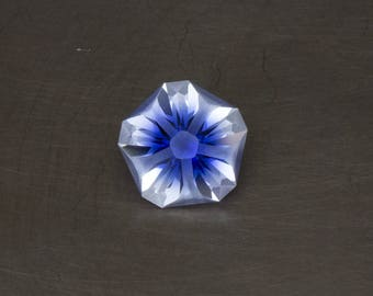 RESERVED - White and Blue Hanami Sapphire Loose Lab Created Modern Floral Handmade Precision Cut Two Tone Gemstone