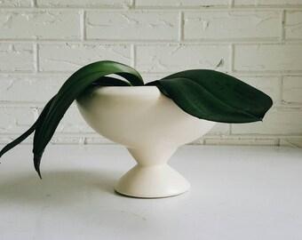 Mid Century Haeger USA Ceramic Pedestal Planter - Cream Footed Succulent Plant Container