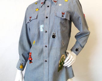 Gucci Vibes...Montgomery Ward 1970s Patch Button Down
