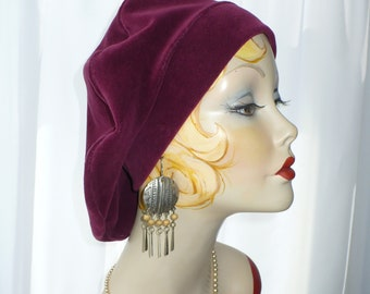 Oversize Raspberry Beret ~ Repurposed Velveteen