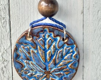 Denim Leaf Pendant, Handmade Ceramic Leaf Pendant on Hemp, Handmade Necklace, Handmade Leaf Necklace, Boho Style Necklace