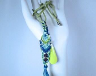 Blue & Tender Green PendantThread with an Enamel Dangler...