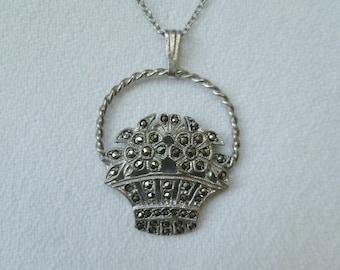 Sterling Silver Marcasite Flower Basket Pendant Necklace Chain. Vintage Antique 1930s. Bridal Wedding Necklace.
