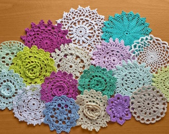 18 Hand Dyed Vintage Crochet Doilies, Beige, White, Blue, Green, and Purple Colored Doilies, 2, 3, 4 inch doilies