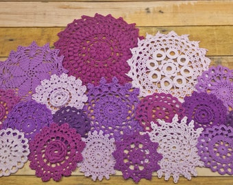 Purple Crochet Doilies Assortment, 18 Hand Dyed Crochet Doilies in Small Sizes, Doilies for Crafts, 2 to 5 inches, Crochet Mandalas