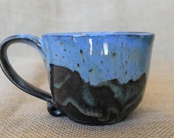 Pottery coffee mug, Wheel thrown stoneware ceramic mug