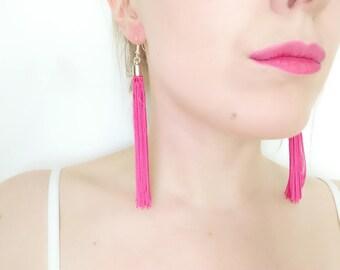 Fringe Earrings Pink  - Silver Tassel Jewelry - Statement Jewelry - Long Tassel Earrings - Bohemian Jewelry - Pink Drop Earrings - Color Pop