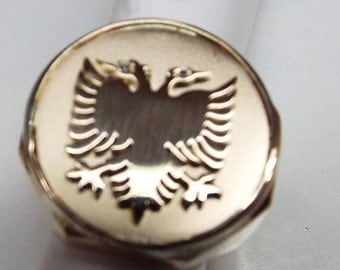 albanian  eagle  ring , with 2 diamonds .14k gold