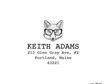Animal Personalized Custom Return Address Rubber Stamp or Self Inking Office Stationery Desk Woodland Fox with Glasses Stamp