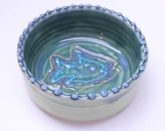 Pottery Cat Dish, Small Water Dish, Ceramic Pet Dish