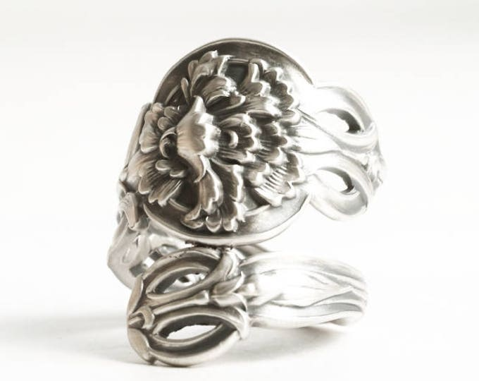 Carnation Ring, January Flower, Antique Sterling Silver Spoon Ring, 1st Wedding Anniversary Gift, Alvin Sterling, Adjustable Ring Size, 6874