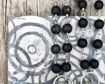 Boho Rap/ Boho Beaded Necklace and Pendant / Black Boho Beaded Necklace / Black Onyx Necklace/ White Dendritic Opal Pendant / Boho Jewellery