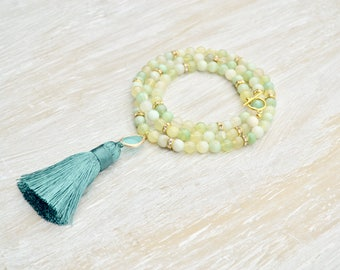 Tassel Necklace, Mint Green Agate Necklace, Long Gemstone Necklace, Gifts for Her, Tassel with Light Turquoise Glass Faceted Link, Bohemian