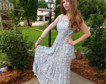 Vintage Smocked Floral Sun Dress, Summer Maxi, Ruffled Long Dress, Boho Fashion