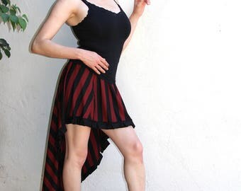 Waterfall Skirt - Beetlejuice Skirt - Dark Red and Black - Steampunk Skirt - Striped Skirt - Gothic Skirt