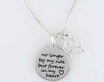Paw Print No Longer by My Side But Forever in My Heart Necklace Sterling Silver