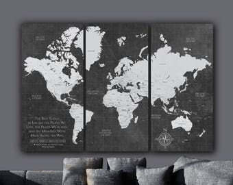 Current World Map Push Pin Travel Map / Canvas Art, World Map Wall Art, Push Pin or Canvas Option, Custom Map, Large art