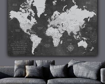 Push pin map etsy current push pin world map one panelgallery wrapped art world map canvas gumiabroncs Image collections