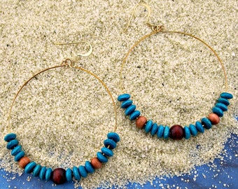 Teal-Boho earrings, Beaded earrings, Wood hoop earrings, Bohemian fashion, Memory wire earrings, Statement earrings, Ethnic earrings