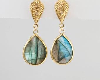Labradorite Earrings, Gold Dangle Earrings, Statement Earrings, Filigree Earrings, Gold Framed Gemstone, Drop Earrings, Ornate, Gift for Her